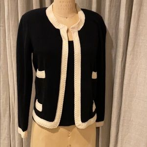 Authentic Chanel black and cream cashmere cardigan
